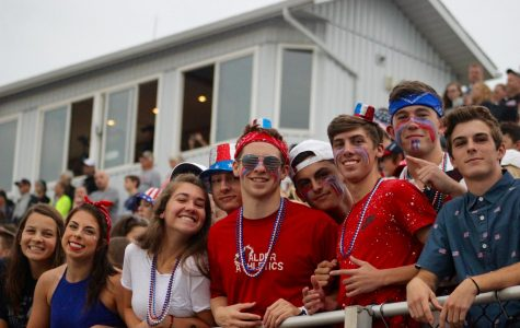 Seniors in the Student Section had a blast during American Night on Friday