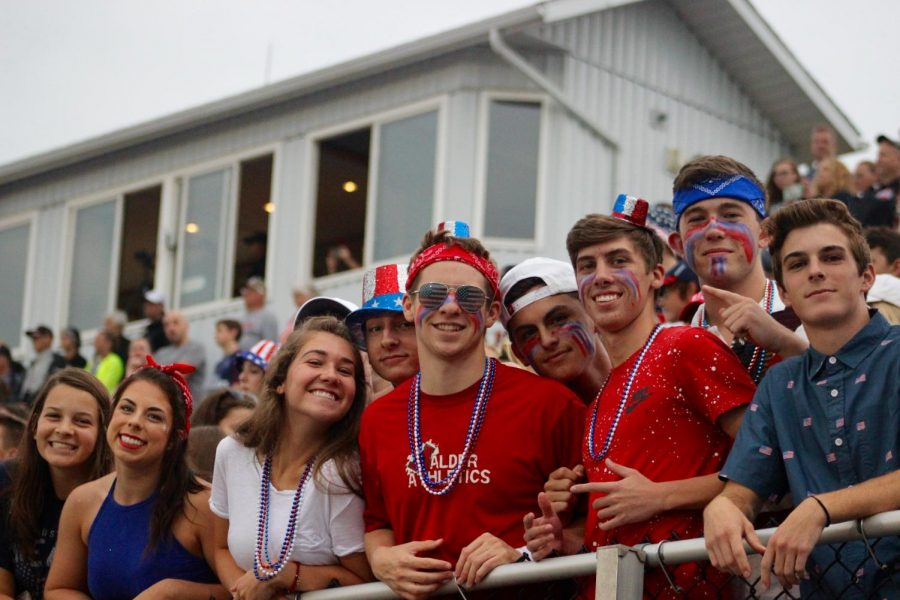 Seniors+in+the+Student+Section+had+a+blast+during+American+Night+on+Friday