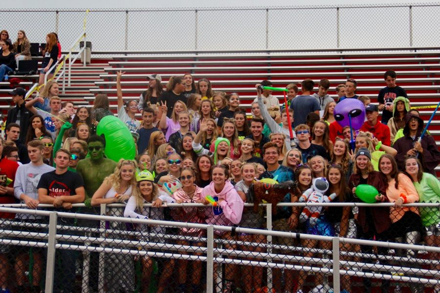 The+student+section+at+the+first+home+game--Alder+vs.+Marion+Harding.+The+theme+for+the+evening+was+%22Space+Out.%22
