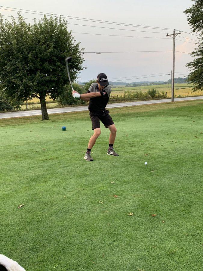 Senior+Tyler+Hilbert+prepares+to+swing