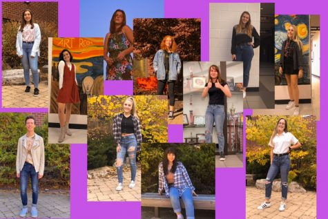 A collage of all the outfits showed in the article, photos taken by Madeline Frambes