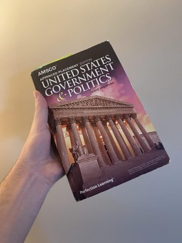 A photo of my wonderful AP Government textbook that I've been vigorously reading while stuck at home.