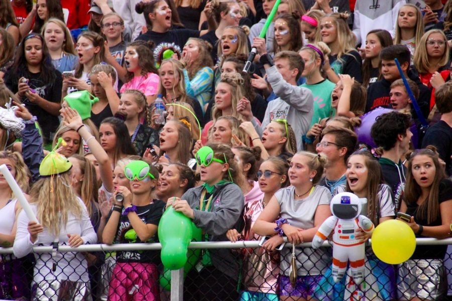The student section at the home game last year with the theme Space Jam. This Friday's game will also have the theme Space Jam