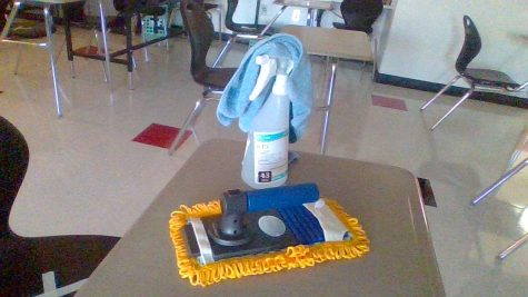 A teachers cleaning supplies, used in-between classes.